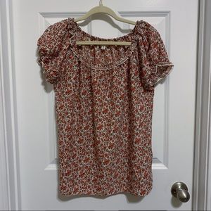 Max Studio red floral blouse